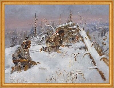 Crow Indians Hunting Elk Charles M. Russell Indianer Winter Jäger B A2 00135