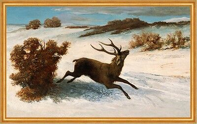 Deer Running in the Snow Gustave COURBET Hirsch Geweih Tiere Schnee B A2 00141