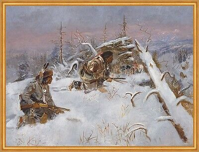 Crow Indians Hunting Elk Charles M. Russell Indianer Winter Jäger B A1 00135