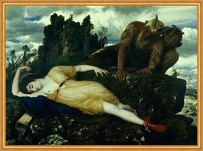 Sleeping Diana Watched by Two Fauns Arnold Böcklin römischer Gott B A1 00154