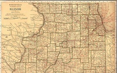 1921 RARE ILLINOIS Map with RAILROADS  Beautiful Rare Size Map of Illinois
