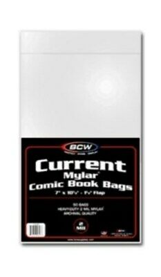 100 BCW Current Comic Book Mylar Bags 2 Mil - Acid Free - Archival Safe mylars