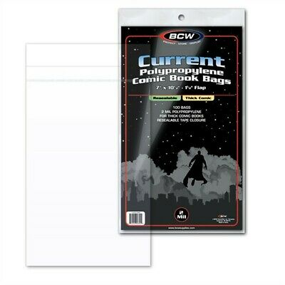 Pack / 100 BCW RESEALABLE Current THICK Comic Book Acid Free Poly Bags archival