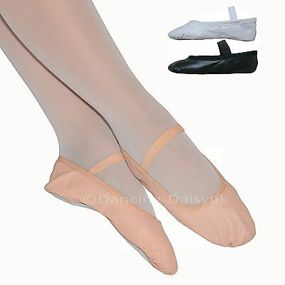 Boys / Girls LEATHER BALLET SHOES Pre-sewn Elastics Full Sole Pink Black White