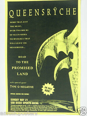 """Queensryche / Type O Negative 1994 """"promise Land Tour"""" San Diego Concert Poster"""