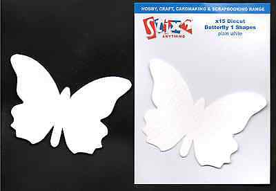 15 DIE CUT WHITE BUTTERFLY SHAPES 270gsm CRAFT CARD MAKING SCRAPBOOKING S57291