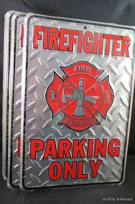 WHOLESALE LOT OF 12 FIREFIGHTER FIRE DEPT PARKING ONLY METAL TIN SIGNS Rescue US