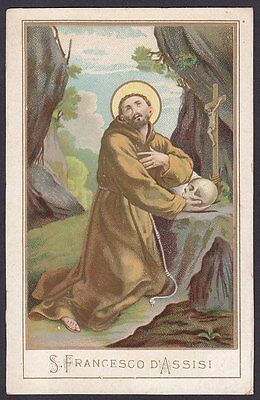 SAN FRANCESCO D'ASSISI 06 SANTINO HOLY CARD IMMAGINETTA RELIGIOSA - fine 1800