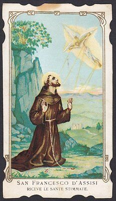 SAN FRANCESCO D'ASSISI 03 SANTINO HOLY CARD IMMAGINETTA RELIGIOSA - primi '900