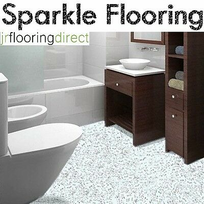 WHITE Granite Effect Sparkly Flooring /  Glitter Sparkle Vinyl Lino Safety Floor
