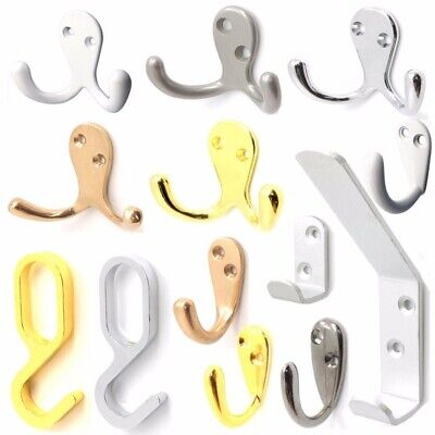 SINGLE & DOUBLE ROBE HOOKS ~CHOOSE BRASS-CHROME-SILVER~ Clothes Hat Coat Hangers