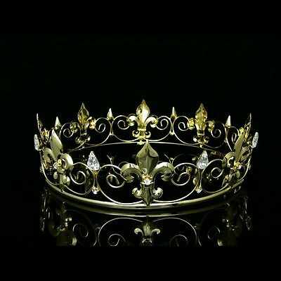 Gold Full King's Crown Wedding Party Crystal Tiara 9436