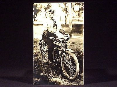 1912 R.p.p.c. Of Rider On A Vintage Motorcycle
