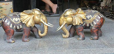 "28""Chinese Bronze Gilt Silver Animal Auspicious Safety Elephant Heffalump Pair"