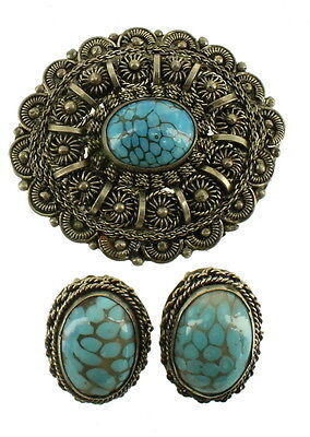 Vintage Silver Tone Ornate Wire Work Faux Turquoise Cabs Pin/necklace & Earrings