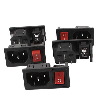 AC 10A 250V ON/OFF Red Button Rocker Switch IEC320 C14 Inlet Power Socket 5 Pcs