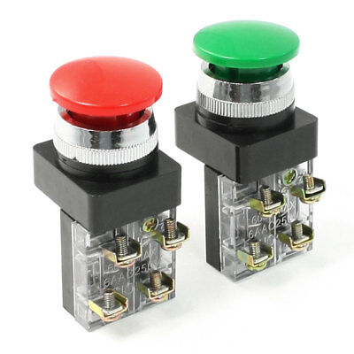 AC 250V 6A Green Red Sign Momentary Mushroom Push Button Switch SPDT