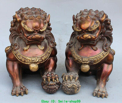 China Red Bronze Gilt Guardian Foo Fu Dog Phylactery Door Lion Ball Pair Statue