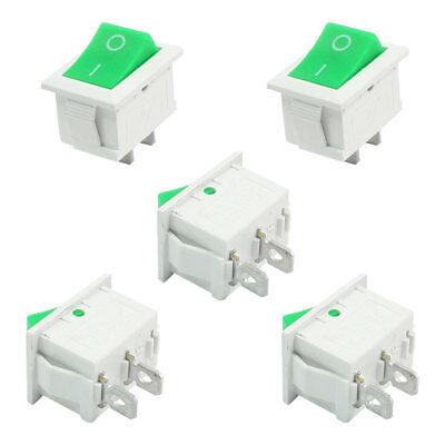 5 Pcs AC 250V 6A 2 Position ON-OFF SPST Snap in Round Rocker Switch