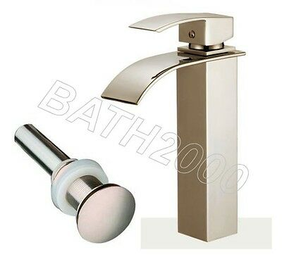 New Square Brushed Nickel Bath Bathroom Vessel Sink Waterfall Faucet And Drain
