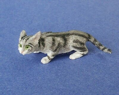 Miniature Dollhouse Gray Stalking Cat 1:12 Scale New