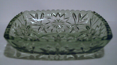 """Square 6 1/2"""" Green Floral Pressed Glass Dish"""