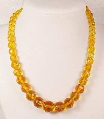 Vintage Necklace Graduated Glass Beads Faceted 16in Golden Yellow 6-12mm
