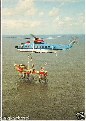 Helicopter Postcard - KLM - S-61 N - PH-NZI - Ocean Oil Drill Platform (P2519)