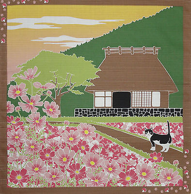 Furoshiki Wrapping Cloth Japanese Cat Fabric 'Tama & Thatched House' Cotton 50cm