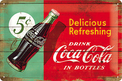 COCA COLA Blechschild 20x30 cm DELICIOUS IN BOTTLES Schild Sign 22229