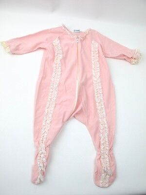 Vintage Baby Sleeper Pink lace trimmed  3 Months