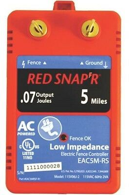 New Fi-Shock Eac5M-Rs Red Snap'r 5 Mile Electric Fencer Low Impedance 6976831