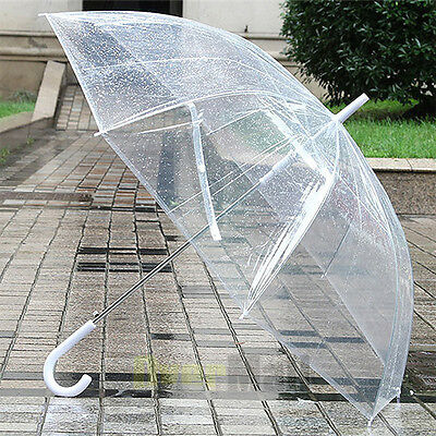 Large Transparent Clear Dome See Through Umbrella With White Handle New