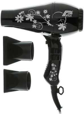 Parlux 3200 Hair Dryer for Styling. Powerful 1900 Watt BLACK FLOWER DESIGN