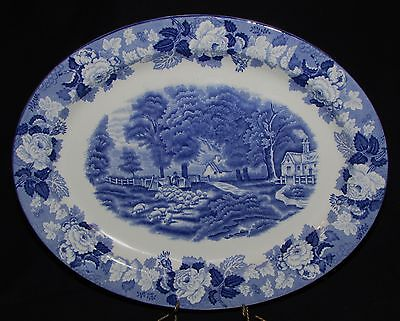 """WOOD & SONS 12"""" OVAL PLATTER BLUE """"ENGLISH SCENERY"""" PASTORAL SCENE SHEEP 1917+"""