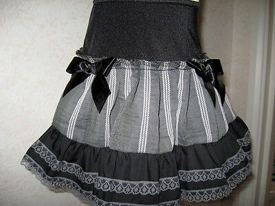 NEW Girls  Black Grey Striped Linen lace Frilly Party Gift Skirt Dance Goth Rock
