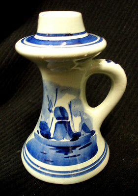 VINTAGE DELFT BLUE WILLOW BLUE CHAMBER CANDLE STICK HOLDER HOLLAND