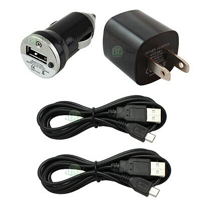 2 USB 6FT Micro Battery Data Sync Cable+Car+Wall Charger for Android Cell Phone