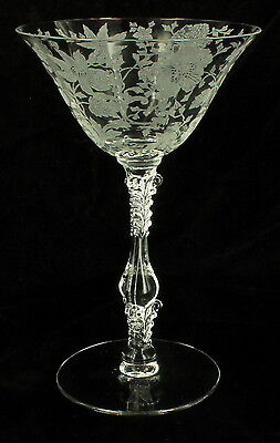 Vintage Cambridge Glass Wildflower Tall Champagne Stem #3121 Beautiful Elegant!