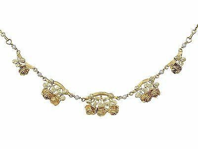 Antique French,Art Nouveau Style Two Tone 18k Yellow Gold & Pearl Necklace