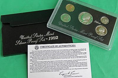 1992 United States Mint ANNUAL 5 Coin SILVER Proof Set Complete as Issued