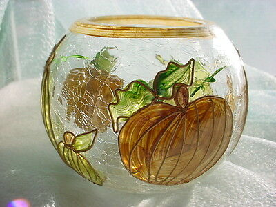 Fifth Avenue Crystal Candle Bowl Crackled Glass with Autumn Pumpkins Halloween