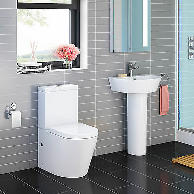 Curved Close Coupled or Wall Hung Toilet & Pedestal Sink Complete Bathroom Suite