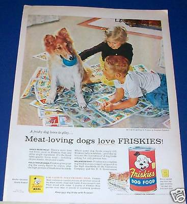 1956 COLLIE puppy loves play kids newspaper funnies Ad
