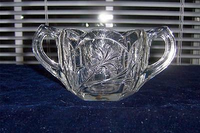 Fostoria DANDELION Heavy Crystal Handled Open Sugar Bowl Pressed Floral EXC!