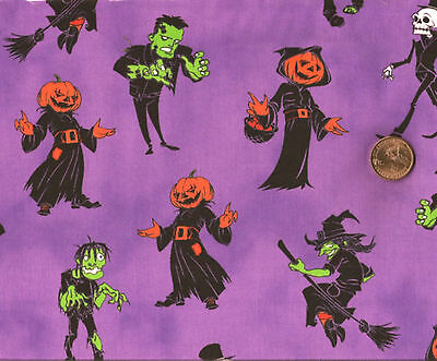 Halloween Ghosts & Ghouls Witch Skeletons on Plum/Purple Cotton Fabric*