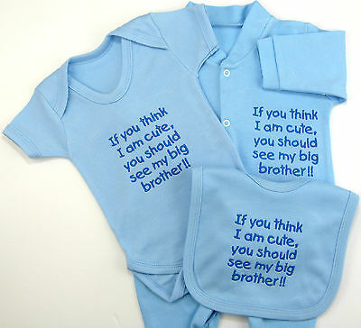 Think I Am Cute See My Big Brother / Brothers Baby Gift Set Grow Vest Bib Funny