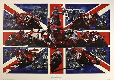 "DAVID BILL ""Decade Dedication"" BRITISH motorbike RACING SIZE:50cm x 76cm  RARE"