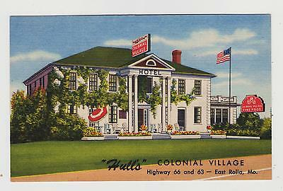 Rolla,MO.Hulls Colonial Village,Route 66,Phelps County,Linen Roadside,c.1940s