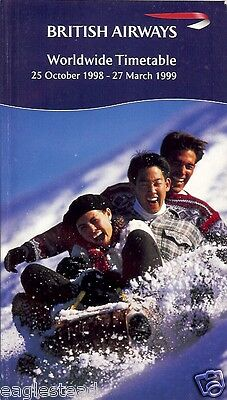Airline Timetable - British Airways - 25/10/98 - Aspen Vail Winter Sports cover